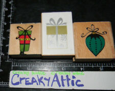 CHRISTMAS BULB GIFT BOXES BOWS RIBBONS 3 RUBBER STAMPS HOBBY LOBBY #861