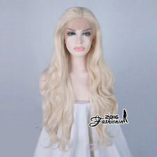 Lace Front Wig 24'' Light Blond Heat Resistant Wavy Daily Party Cosplay Wig+Cap