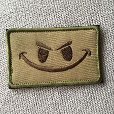 EVIL SMILE SMILEY FACE ISAF US ARMY TACTICAL MORALE HOOK LOOP PATCH BADGE TAN
