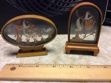 Vintage Miniature Asian Cork Diorama Beautiful Cranes Scenes Set of 2