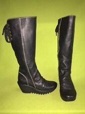 Black Fly London Wedge Heel Knee-High Boots 6 36