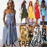 UK Women Off Shoulder Bardot Mini Denim Jeans Buttons Pocket Shirt Dress 6-14