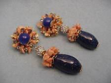 Vrba Faux Lapis & Coral Drop Earrings
