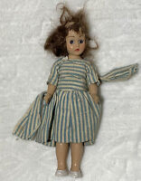 "1948 Antique Duchess Doll Vintage Small 7"" Striped Blue White Dress brunette"