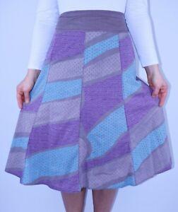 Fat Face Beige Cotton Aline Skirt Casual Spring Patchwork Summer Size 14 AH