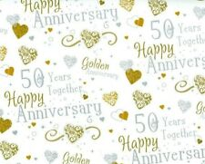 2 Sheets Gift Wrapping Paper HAPPY GOLDEN WEDDING ANNIVERSARY 50 Years Together