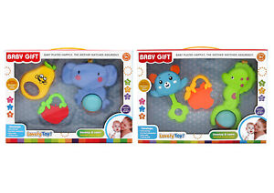 TWIN Pack Baby Rattle Set Toy Teether Various shapes Gift box BoysGirls learning