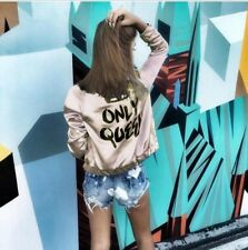 Online Buy Letter Print Woman Jackets And Coats - Pink