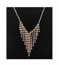 Sarina fringe necklace~sparkling diamante glass stones~white bronze plated