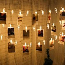 UK // LED Photo Window Hanging Peg Clips 20 LED String Lights Home Decor