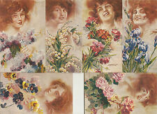 SET OF 6 POSTCARDS:  LANGUAGE OF FLOWERS by SANTINO - PRETTY REDHEADS - Unused