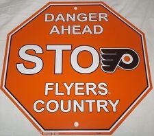 """NEW NHL 12""""x12"""" PLASTIC STYRENE TEAM STOP SIGN - PHILADELPHIA FLYERS"""