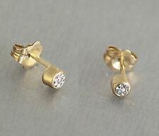 Ohrstecker Gold 585 - Echtgold Ohrringe mit Zirkonia - kleine Stecker Gold 14 kt