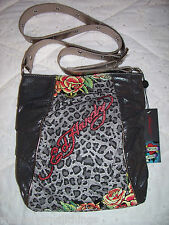 f5cdccb156 NWT Ed Hardy RENEE Jungle Rose Crossbody Bag Black