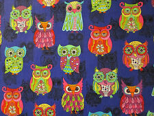 WISE OWLS  OWL PURPLE BLACK INLAY COLORS COTTON FABRIC FQ