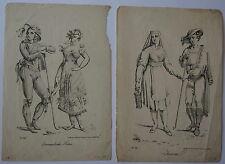 7 x Joseph Trentsentsky,Trachtendarstellungen Federlithografien, ca. 1830