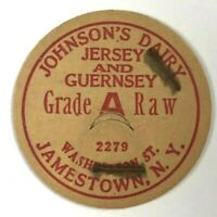 Johnson's Dairy Jersey & Guernsey Jamestown NY New York Vintage Milk Bottle Cap