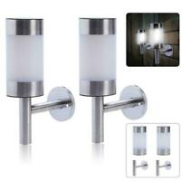 2PCS Stainless Steel Outdoor Solar Powered Shed Door Fence Wall LED Lights Lamps