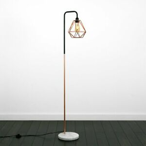 Retro Basket Cage Shade Floor Lamp Style Black/Copper Metal White Marble Base
