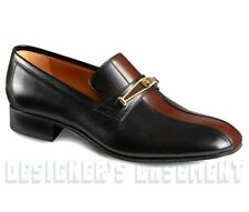 GUCCI men 9 black leather brown Stripe Loafer TIGER Buckle shoes NIB Authen $980