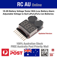 1S-8S LiPo/LiFe/Li-Ion Battery Voltage Tester With Adjustable Low Voltage Alarm