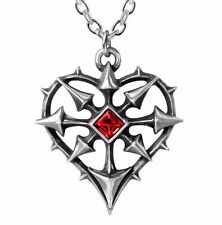Entropassio Chaos Arrows Heart Red Crystal Pendant Necklace Alchemy Gothic P787