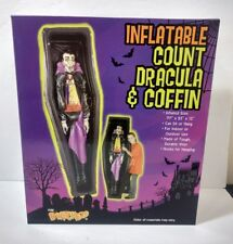 Inflatable Count Dracula and Coffin Vinyl 6.5 Feet Tall Indoor Outdoor Sit/Hang