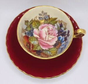 Aynsley Signed J.A. Bailey Red Cabbage Rose Cup and Saucer Set; Teacup England