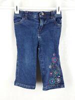 Sketchers Girl's sz 18 Months Dark Blue Floral Design Cotton Blend Denim Jeans