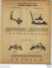 1922 PAPER AD Weaver Walker Twin Jack Garage Floor Roll A Car Automobile Jack