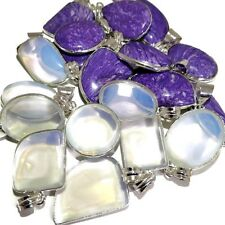 Best Choice 20 PCs. CHAROITE & OPALITE .925 Sterling Silver Plated Pendants Lot