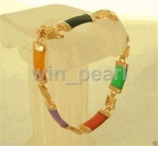 18k GP Natural Multicolor jade Women's Perfect Link Chain Bracelet