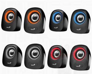 Genius SP-Q160 USB Stereo Speakers Plug and Play Laptop Desktop Blue Grey Red