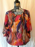 Cato Womens Top Size L Multicolor Print Batwing Sleeve Elastic Bottom Keyhole