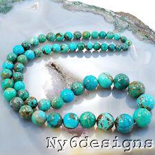 "*4x4mm-11x11mm Natural Blue Hubei Turquoise Graudated Round Beads 15""(TU792)b"