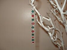 5x Christmas Tree Bespoke Decoration crystal Icicle Bauble hanging red green