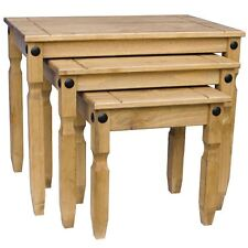 Corona Nest of 3 Tables Mexican Solid Waxed Pine Living Room Furniture Units