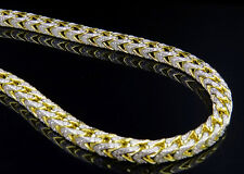 """Men's Sterling Silver Franco Box Iced Out Chain In Yellow Gold Finish 11MM 28"""""""