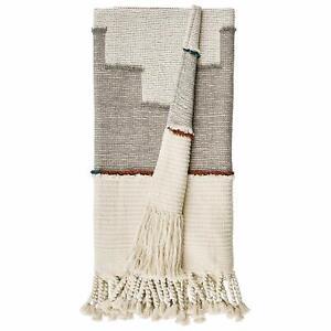 "Rivet Modern Global-Inspired Textured Tassel Throw Blanket cotton 50""W x 60""L"