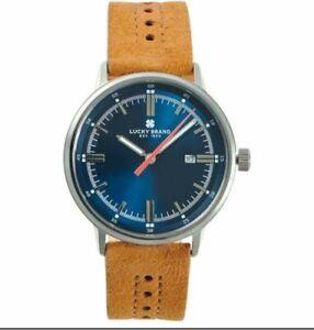 LUCKY BRAND Fairfax blue brown tan suede strap 40 mm Men's watch
