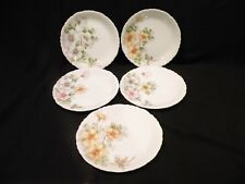 Porcelain china hand painted Floral Luncheon/ Salad Plates signed Five