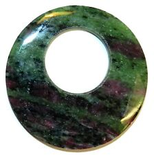 P2697f Ruby Zoisite 44mm Flat Round GoGo Pendant Natural Gemstone Bead