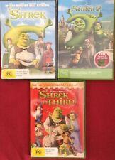 Shrek 1,2 & 3 Movies DVDs R4