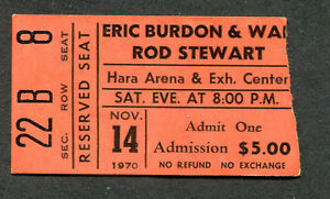 1970 Faces Rod Stewart Eric Burdon War concert ticket stub Dayton Gasoline Alley
