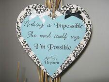 Handmade 15cm Heart Plaque Audrey Hepburn Inspirational Life Quote Friend Gift