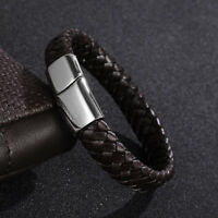 Valentines Gifts For Men Brown Leather Bracelet FREE Engraving Any Message