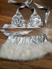 Silver Fur Skirt Bikini Exotic Dancer Stripper Outfit