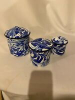 Splatter Ware NEW EnamelWare blue and white swirl canister set