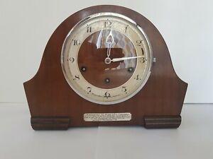 HAC/Morath Bros Wooden Mantel Clock with Pendulum + Key Working 1939