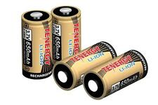 4x Tenergy 3.7V 650mAh LiIon 16340 (RCR123A) Rechargeable Batteries for Arlo